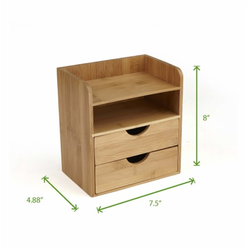 Mind Reader 4-Tier Bamboo Desk Organizer with 2 Drawers - Brown Perspective: left