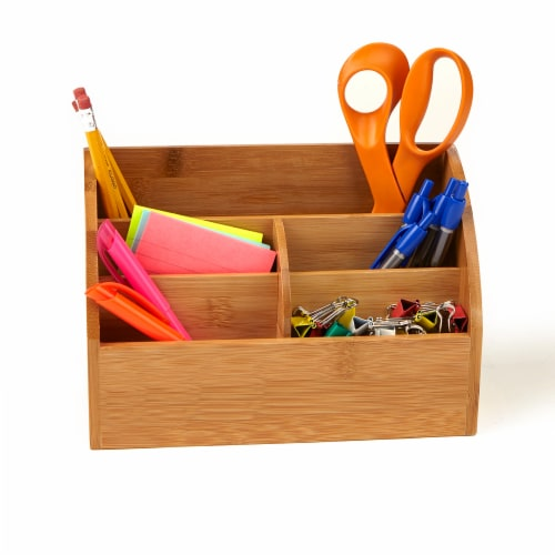 Mind Reader 5 Compartment Bamboo Desk Organizer  - Brown Perspective: left