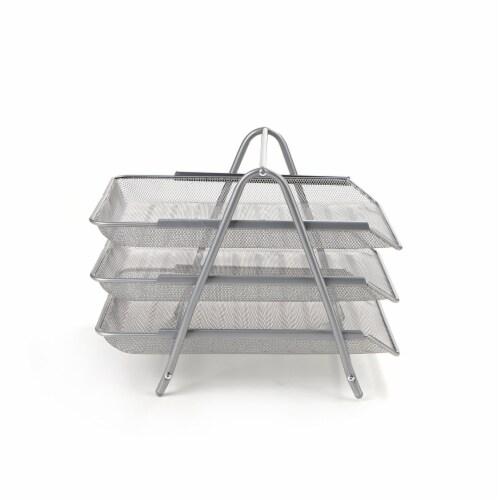 Mind Reader 3-Tier Mesh Paper File Tray Desk Organizer - Silver Perspective: left