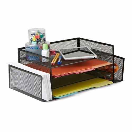 Mind Reader 6-Compartment Desk Organizer - Black Perspective: left