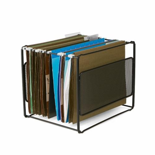 Mind Reader Desktop File Folder Organizer Box - Black Perspective: left