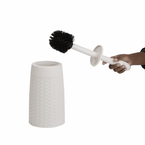 Mind Reader Round Toilet Brush with Holder - Ivory Perspective: left