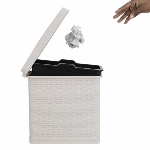 Mind Reader Slim Bathroom Trash Bin with Lid - Ivory Perspective: left