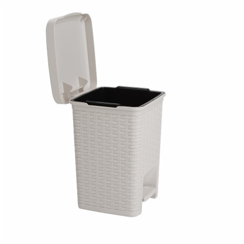 Mind Reader Square Pedal Bathroom Trash Bin - Ivory Perspective: left