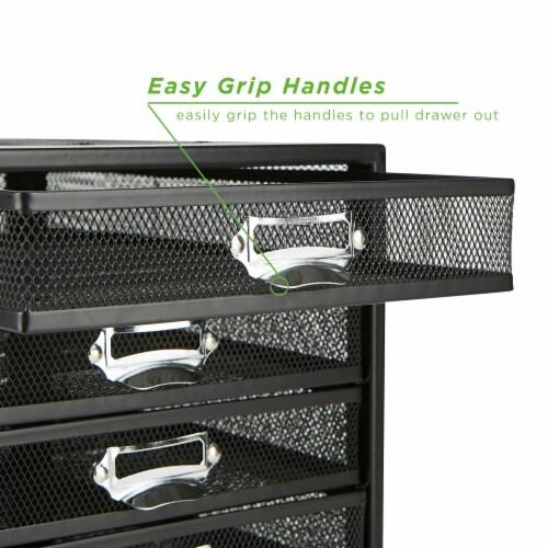 Mind Reader 5 Drawer Metal Mesh Storage Cabine - Black Perspective: left