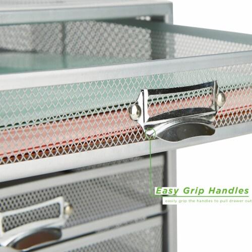 Mind Reader 5 Drawer Metal Mesh Storage Cabinet - Silver Perspective: left
