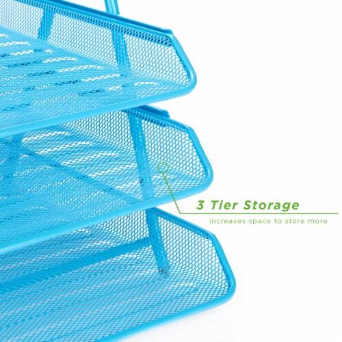 Mind Reader 3-Tier Mesh Paper File Tray Desk Organizer - Blue Perspective: left