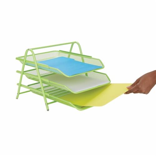 Mind Reader 3-Tier Mesh Paper File Tray Desk Organizer - Green Perspective: left