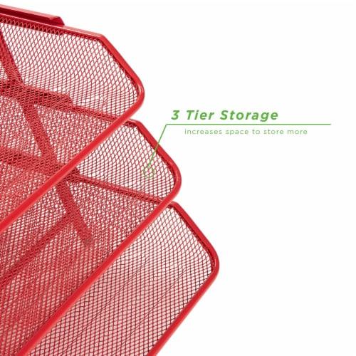 Mind Reader 3-Tier Mesh Paper File Tray Desk Organizer - Red Perspective: left