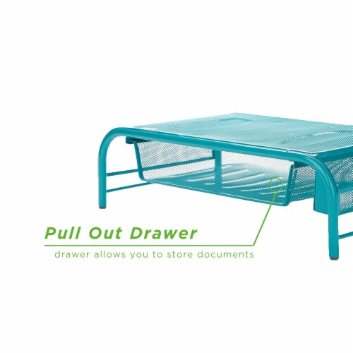Mind Reader Metal Mesh Monitor Stand and Desk Organizer with Drawer - Turquoise Perspective: left