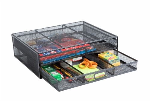 Mind Reader Metal Stand Riser with Organizing Drawers - Black Perspective: left
