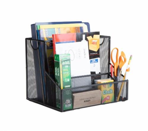 Mind Reader Metal Mesh Large File Organizer Storage Basket - Black Perspective: left