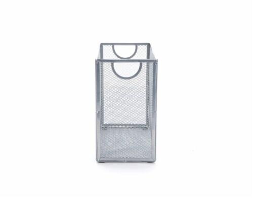Mind Reader Metal Mesh File Organizer Storage Basket - Silver Perspective: left