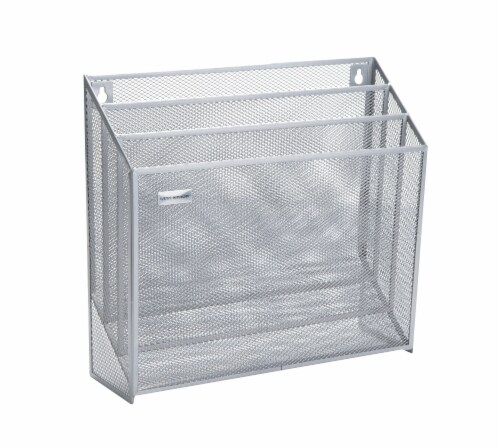 Mind Reader 3-Tier Mesh Free Standing and Wall File Holder - Silver Perspective: left