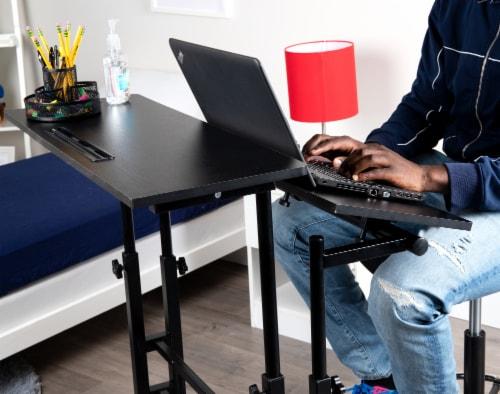 Mind Reader Large Rolling Sitting and Standing Reversible Workstation Desk - Black Perspective: left