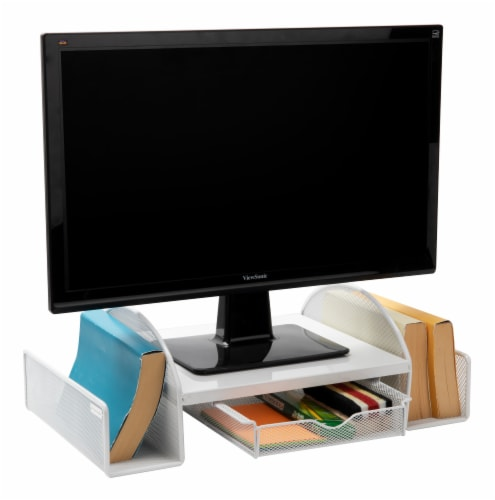 Mind Reader Mesh Monitor Stand With Side Storage - White Perspective: left