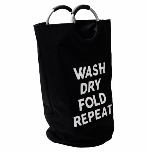Mind Reader Foldable Cloth Laundry Bag With Handles - Black Perspective: left
