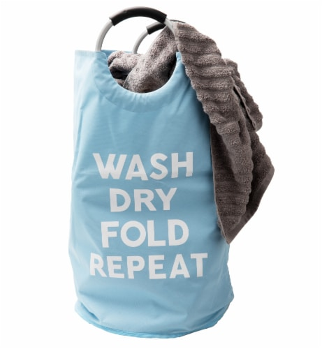 Mind Reader Foldable Cloth Laundry Bag With Handles - Blue Perspective: left