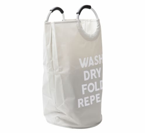 Mind Reder Foldable Cloth Laundry Bag With Handles - Grey Perspective: left