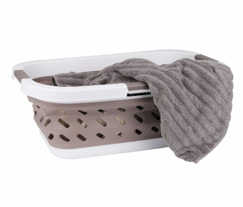 Mind Reader Plastic Collapsible Laundry Basket - Brown Perspective: left