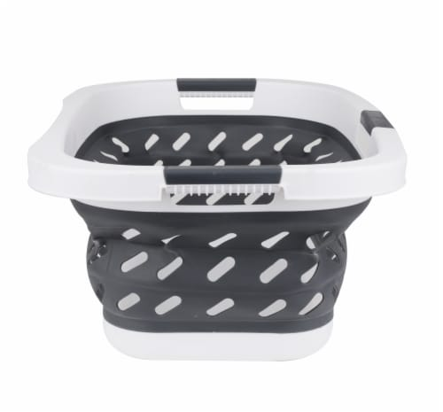 Mind Reader Plastic Collapsible Laundry Basket - Grey Perspective: left