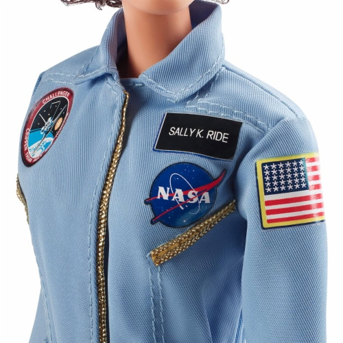 Barbie Inspiring Women Sally Ride Tribute Astronaut Doll with Full Flight Suit Perspective: left