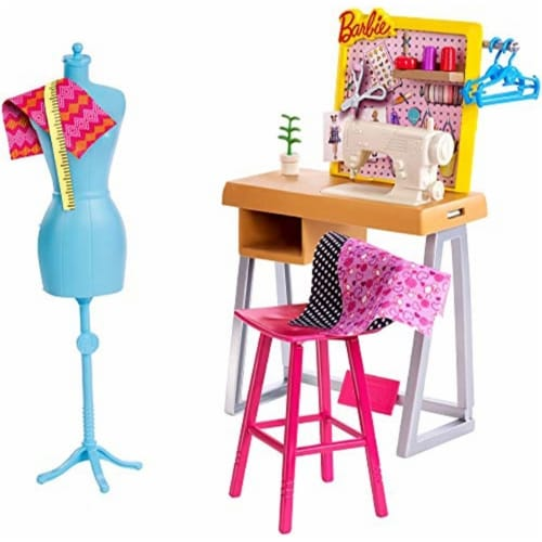 Barbie Fashion Design Studio Playset with Sewing Machine Station, Dress Form and Themed Toys Perspective: left