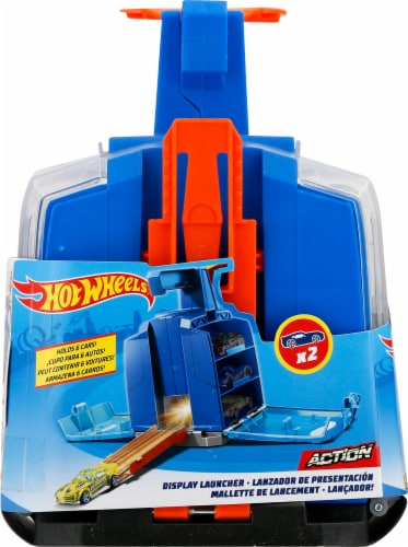 Mattel Hot Wheels® Track Builder Display Launcher - Blue/Orange Perspective: left