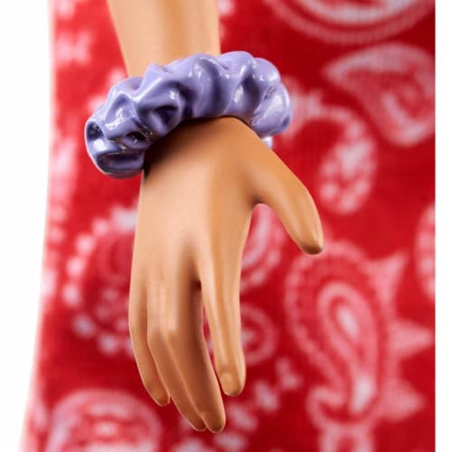 Barbie Fashionistas Doll with Long Pink Hair Wearing a Red Paisley Top & Skirt Perspective: left