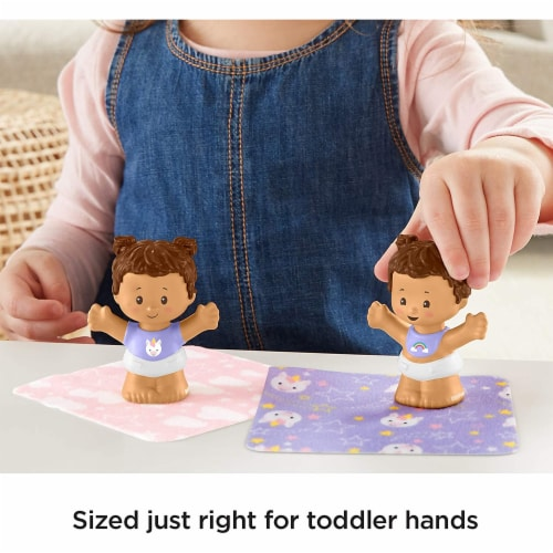 Fisher-Price Little People Snuggle Twins, Figure Set for Toddlers, Brunette Perspective: left