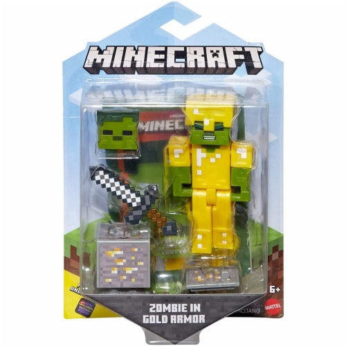 Minecraft Earth Zombie with Gold Armor Figure Perspective: left
