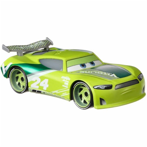 Disney Pixar Cars Spikey Fillups and Chase Racelott Toy Racers Perspective: left
