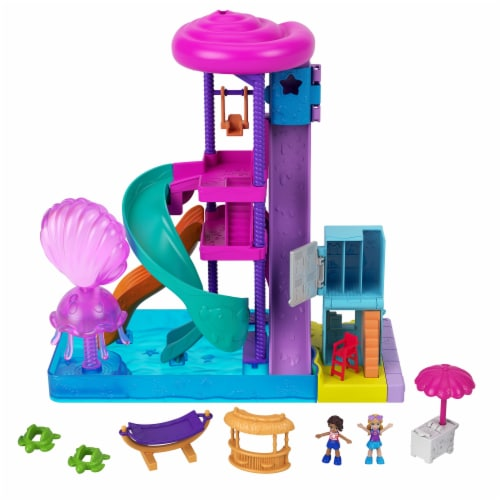 Mattel Polly Pocket Pollyville Super Slidin Water Park Playset Perspective: left