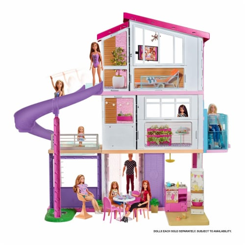 Mattel Barbie Dreamhouse with New Elevator Playset Perspective: left