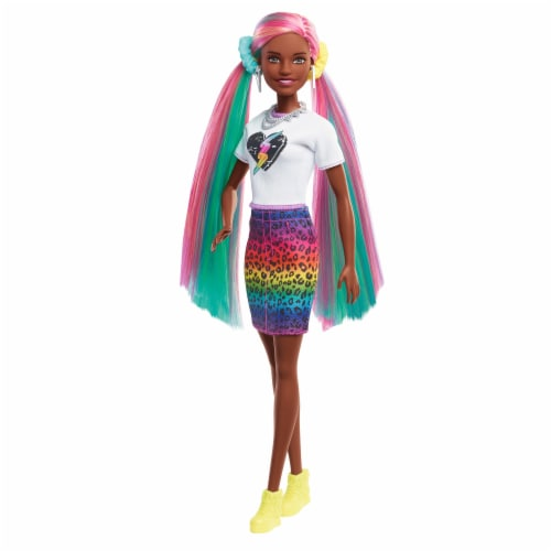 Mattel Barbie® Leopard Rainbow Hair Doll Perspective: left