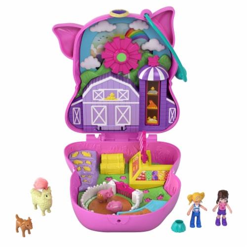Polly Pocket On The Farm Piggy Compact, Farm Theme, Micro Polly Doll & Friend Doll Perspective: left