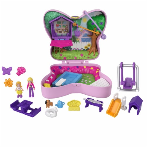 Mattel® Polly Pocket™ Backyard Butterfy Compact Playset Perspective: left