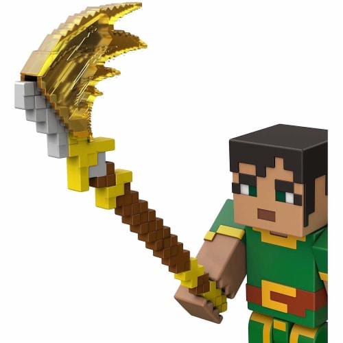 Minecraft Dungeons 3.25-in Collectible Jade Battle Figure and Accessories Perspective: left