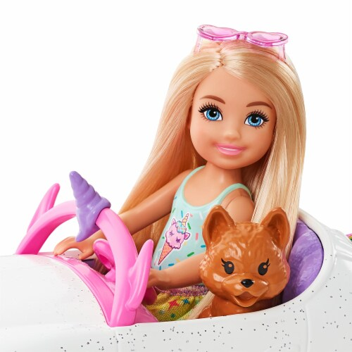 Mattel Barbie Chelsea Doll and Car Toy Set Perspective: left