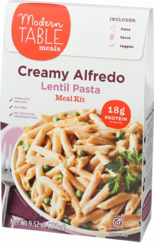 Modern Table Creamy Alfredo Lentil Pasta Meal Kit Perspective: left