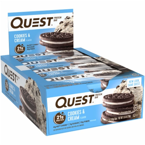 Quest Cookies & Cream Flavor Protein Bars 12 Count Perspective: left