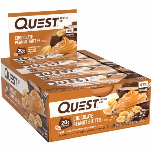 Quest Chocolate Peanut Butter Protein Bars 12 Count Perspective: left