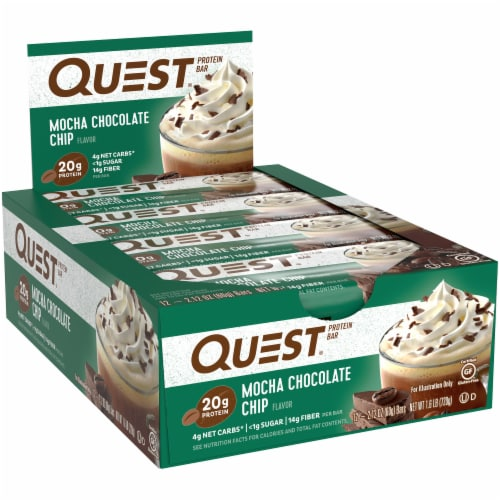 Quest Mocha Chocolate Chip Protein Bars 12 Count Perspective: left