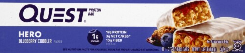 Quest HERO Blueberry Cobbler Protein Bars 10 Count Perspective: left