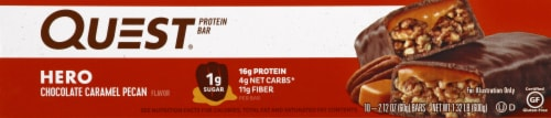 Quest HERO Chocolate Caramel Pecan Protein Bars 10 Count Perspective: left