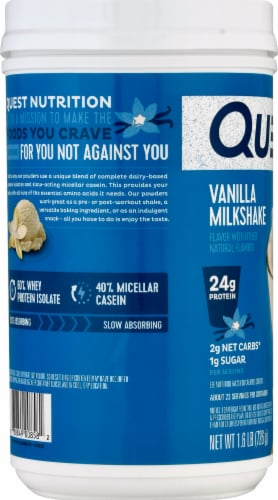 Quest Vanilla Milkshake Protein Powder Perspective: left