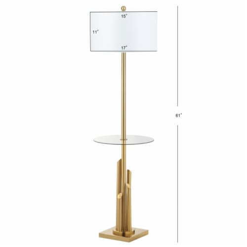 Ambrosio 61-Inch H Floor Lamp Side Table Brass / Gold Perspective: left