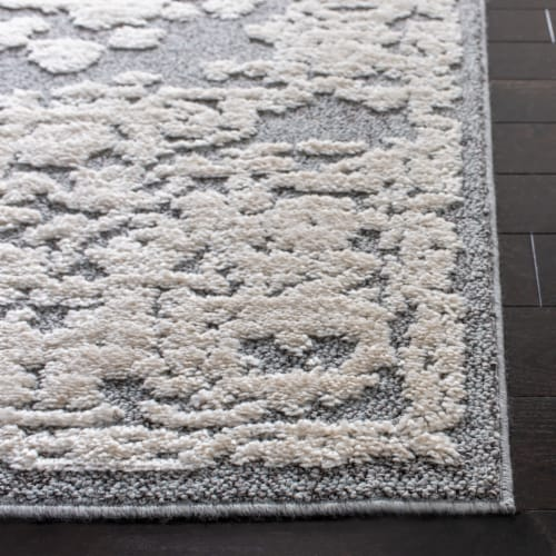 Martha Stewart Collection Lucia Shag Area Rug - Light Gray/White Perspective: left