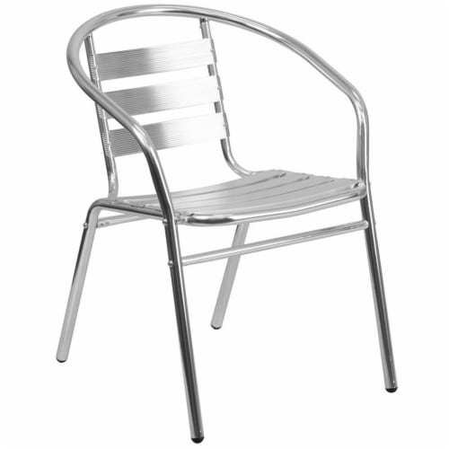 31.5'' Round Aluminum Table Set with 2 Slat Back Chairs - TLH-ALUM-32RD-017BCHR2-GG Perspective: left