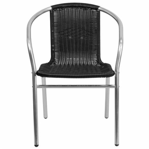 Flash Furniture TLH-020-BK-GG Commercial Aluminum & Black Rattan Indoor & Outdoor Restaurant Perspective: left